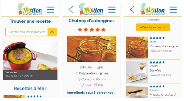 Captures d'écran de l'appli Mixiton