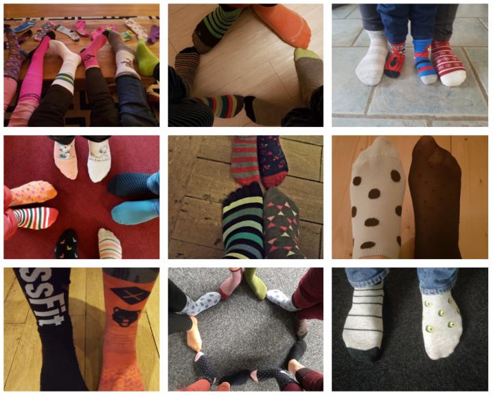 les intervenantes à domicile portent des chaussettes dépareillées pour la Journée de la Trisomie 21